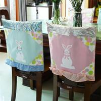 Osterstuhlabdeckungen 48 * 48cm Tuch Bunny Rosa Blau Küchenstuhl Cover Fröhliche Ostern Party Heimstuhldekoration ZC043