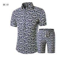 Camisas + Shorts Homens Set New Summer Casual Impresso Hawaiian Camisa Homme Curto Masculino Printing Vestido Terno 1K72