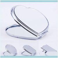 Décor Home & Gardendiy Makeup Mirrors Iron 2 Face Sublimation Blank Plated Aluminum Sheet Girl Gift Cosmetic Compact Mirror Portable Decorat