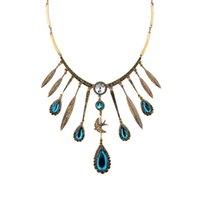 كوين مجوهرات 2021 الساخن ماركة المرأة ماكسي قلادة خمر مجوهرات الأزرق الطاووس ريشة قلادة بوهو العرقية قلادة طوق