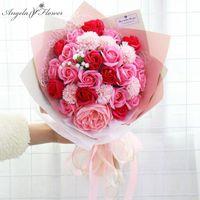 Dekoratif Çiçekler Çelenk Yaratıcı Sabun Çiçek Gül Buket Sevgililer Günü Doğum Günü Hediyesi Yapay Bebeğin Nefes Düğün Gelin Evi de