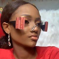 Occhiali da sole Vintage Oversize Rettangolo Rettangolo Donne e uomini Brand Brand Acryl Lens Snake Stampa Occhiali da sole senza montatura Occhiali da sole Unici Sfumati chiari