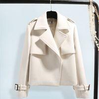Куртка Женщины осенью и зима Новые женские шерстяные короткие пальто женские одежды 201015