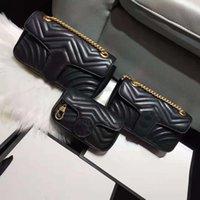 Klassische Luxurys Designer Handtasche 3 Größe Echte Echte Ledertaschen mit Seriennummer Hohe Qualität Frauen Mode Marmont Cross Body Totes 0