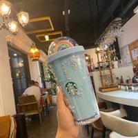 450 мл Симпатичные Радуга Starbucks Чашка Двойной пластик с соломинкой ПЭТ материал для детей Взрослый Girlfirend для подарочных изделий FY4479