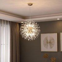 110V-240V araña de diente de león de cristal nórdico de 110V-240V Lámparas de iluminación románticas personalizadas Creative Hanglamp para candelabros domésticos