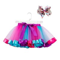 11 colores bebés niñas tutu vestido caramelo arco iris color babies faldas con cabezas conjuntos niños vacaciones danza vestidos tutus 2021