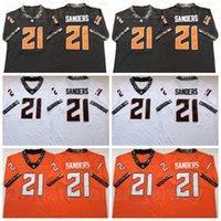 NCAA College Football Oklahoma Bundesstaat 21 Barry Sanders Jersey 1986-1988 Saison Orange Black White Team Farbe Universität Atmungsaktiv Alle genähten Hohe Qualität