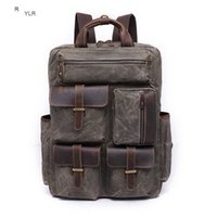 Waxed Canvas and Leather Mens Casual Backpack Vintage Travel Rucksack Hiking Camping Backpack Anti-theft 14-inch Laptop Bag