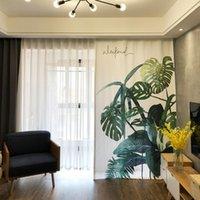 Curtain & Drapes 1x Drapery Panel Living Room Window Dressing Covering 170   145 X 180cm 220cm 240cm 270cm Monstera Ceriman Leaves White