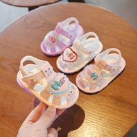 Summer Led Light Baby Girl Sandals 0-2 Years Old Toddler Girl Shoes Pink White Color 11.5cm-13.5cm 210315