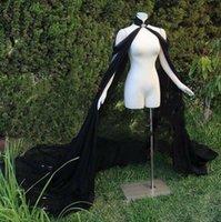 Hochzeitsmantel Gothic Black Long Chiffon Birdal Cape High Hals Elegant Schal Achselzucken Chaquetas de Fiesta Mujer Cosplay Kleid