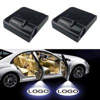 2PCS 섀도우 램프 프로젝터 라이트 자동차 LED 무선 도어 자동차 로고 빛 환영 장식 램프 레이저 자동차 라이트 액세서리 Jaguar Ford Kia