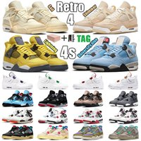 2021 Air jordan 4 4s Retro Shoes Sail Black Cat Bred Retro 4 4s Basketball Shoes Guava Ice Twist White Cement What The Mens Travis Scotts Obsidian UNC Fearless Women Sneakers