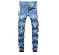 رجل مصمم جينز أزياء الشارع نمط غسلها انفجرت ثقوب قلم رصاص السراويل السراويل الطويلة أزياء pantalones مصمم السراويل للرجال