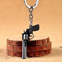 Designer gioco in lega di zinco Keychain Party Favore Uomo Donne Revolver Simulazione Pistol Model Car Key Catena Anello Sacchetto Pendente HWD8998