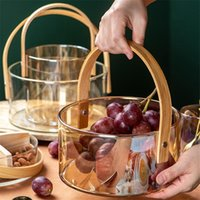 Gerichte Teller Tragbare Glas Fruchtschale Klar Eis Weineimer Salatschüssel Familie Snack Lagerkorb mit Holzgriff