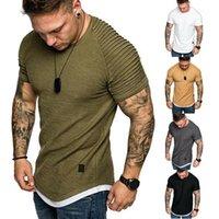 Sıcak erkek T-Shirt Pileli Buruşuk Slim Fit O Boyun Kısa Kollu Kas Katı Rahat Gömlek Tops Yaz Temel Tee New1