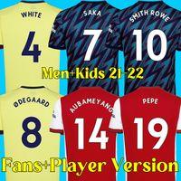 21 22 arsenal futbol forması SAKA AUBAMEYANG futbol forması PEPE LACAZETTE SMITH ROWE WHITE THOMAS XHAKA 2021 2022 erkekler ve çocuklar hayranlar ve oyuncu versiyonu