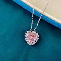 HBP роскошный ледяной резак влюбленность подвеска розовый 925 серебряная мода микро инкрустация высокий углеродный бриллиант ожерелье женское сердце * 12
