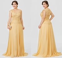 Gold A-Line Mother of the Bride Dress Plus Size Elegant Illusion Neck Sweep Train Chiffon Beaded Lace Bridal Party Gown Vestidos