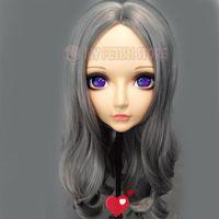 Festa máscaras (zhi-02) gurglelove feminina doce menina resina meia cabeça kigurumi bjd máscara cosplay japonês anime função lolita crossdress boneca