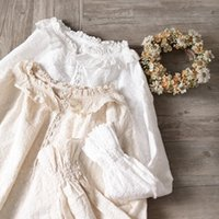 Women's Blouses & Shirts Mori Girl Embroidery Ruffles Collar Flare Sleeve Loose-fitting Doll Shirt Camisas Mujer Women Tops Long Lolita Coat