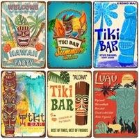 Aloha Tiki Bar Poster Panneau d'étain Vintage Beach Party Bar Pub Pub Décor Plaque Métal Plaque Rétro Hawaii Surfing Plaques Q0723