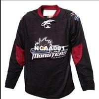 Real 001 Bordados Real Completo Personalizar AHL Cleveland Lago Erie Monstros Hóquei Jersey ou Personalizado Qualquer Nome ou Número