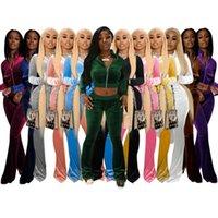 Femmes Tracksuits Deux morceaux Ensemble de concepteurs Tenues de concepteur Slim Sexy Coréen Velvet Couture Couture Couleur Solide Couleur Fermeture Zipper Jacket Flares Pantalon 12 couleurs