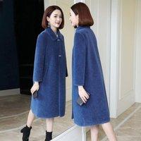 Women's Fur & Faux Women 2021 Winter Real Wool Long Coat Oversize Female Warm Jacket Sheep Shearling Coats Lady Casual Outerwear A561