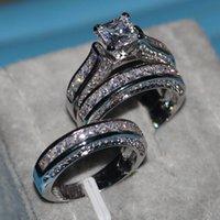 Fashion Vecalon Belle gioielli Principessa Taglio 20CT CZ Diamond Engagement Brada per matrimoni Anello per le donne 14kt Bianco oro riempito anello dito