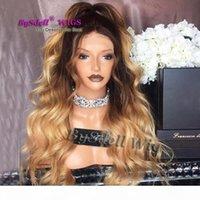 Nuova lunga radice nera ondulata Tre tonalità Ombre Blonde Color Wavy Acconciatura Parrucca Unica Parrucca anteriore in pizzo pieno per le donne nere