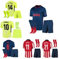20 21 Atletico Suárez Madrid Ev Uzakta 3rd Futbol Formaları Kitleri 2021 Camisetas De Fútbol Joao Çocuk + Erkek Çorap Suit Futbol Shir
