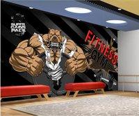 Wallpapers WDBH 3d Po Wallpaper Custom Mural Bodybuilder Bear Gym On Black Background Home Decor Living Room For Walls 3 D