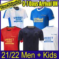2021 Rangers 150th Anniversary Jerseys Glasgow 2022 Treinamento Tee Match Day Tee-Branco Versão Versão Barker Morelos Especial 21 22 Camisas de Futebol Homens + Kids Kit