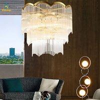 Lampadario di lusso Lampadario in cristallo luminoso moderno soggiorno francese scala scala lampade a sospensione pavimento lampade a full rame lampadario illuminazione