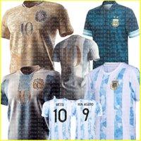 Argentinien Fußball-Jersey-Fans und Spieler-Version 2021 Copa America Messi Dybala Aguero-Fußball-Hemd Uniformen Maradona di Maria Mascherano
