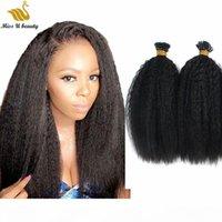 Flauschige große haare afro menschliche haarverlängerungen kinky gerade vorgebunden i tip haarbündel 100g