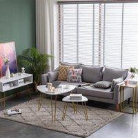 Мебель для гостиной Мраморные железные ноги кофе T сторона 2 комплекта [84 x83 x46cm] белый чайный стол