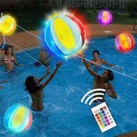 Accessori per piscine Glowing Bright Beach Ball Telecomando Telecomando 16 Colori Gonfiabile Led Party Toy