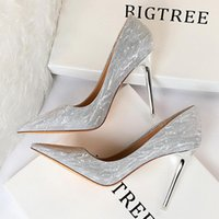 Dress Shoes BIGTREE Woman Pumps Silver Champagne High Heels Stiletto Wedding Sequins Women Fashion Ladies Party Shoe
