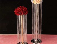 Party Decoration 12pcsWedding Chandeliers Flower Stand With Acrylic Pendants For Wedding Centerpiece Aisle Road Lead