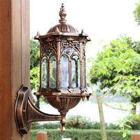 Antika dış duvar ışık fikstür alüminyum cam fener açık bahçe lambası Y200109