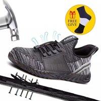 Frauen und Herrenstahl-Zehen-Arbeit Sicherheitsschuhe Atmungsaktive Turnschuhe Pannen-Proof-Stiefel Bequeme Industrieschuhe für Männer 210312