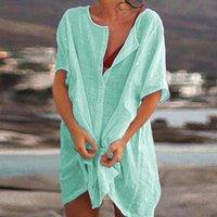 Women's Swimwear Summer Beach Cover Ups Swimsuit Women Bikini Bathing Suit Female Casual Loose Blouse Shirt Short Mini Dress
