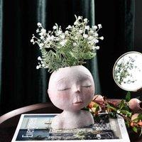 WG المزارعون الأواني الراتنج رئيس زهرية داخلي الغراس النضرة زهرة إناء الإبداعية الوجه تمثال المنزل حديقة ديكور النحت 210623