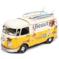 Tissue Boxes & Napkins Box Flower Bus Model Figurines Retro Car Dustproof Storage For Office Home Decoration