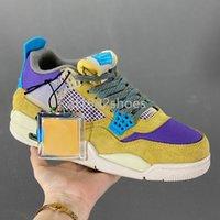 2021 män jumpmen 4s basketskor 4 ökenmos turkos blå-mörk iris utomhus plattform sport sneakers chaussures