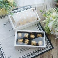 15.2 * 7.8.2 * 4 cm 10 takım beyaz çikolata kağıt kutusu pvc pencere ile düğün Noel doğum günü şeker ambalaj